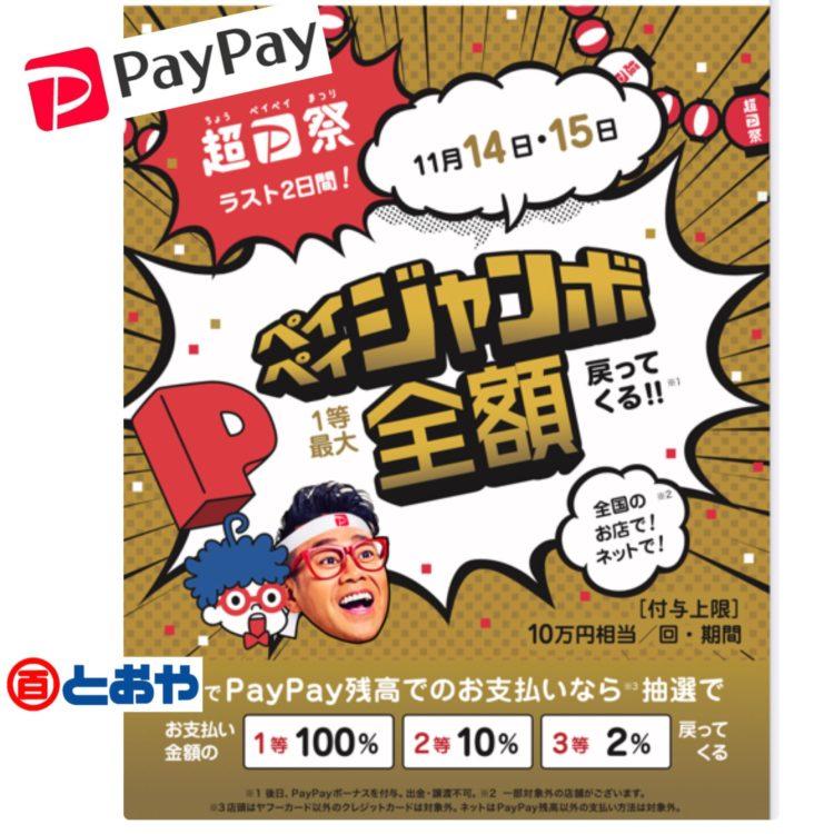 超ペイペイ祭 ペイペイジャンボ開催中!(11月14日・15日の2日間)